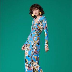 DVF Julian Long Banded Silk Wrap Dress